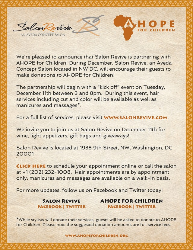 Salon Revive | AHOPE for Children